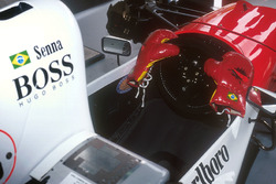 The gloves are off as Ayrton Senna, McLaren delivers the final blow of the season