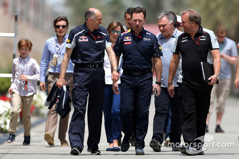 Franz Tost, Scuderia Toro Rosso, Teamchef; Christian Horner, Red Bull Racing, Teamchef und Robert Fernley, Sahara Force India F1, Teamchef