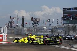 Simon Pagenaud, Team Penske Chevrolet, Charlie Kimball, Carlin Chevrolet