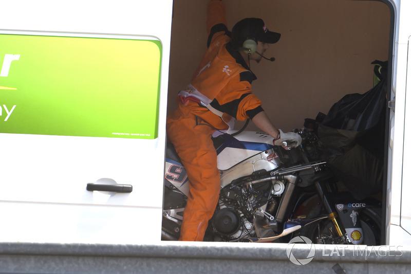 Petrucci's crashed bike