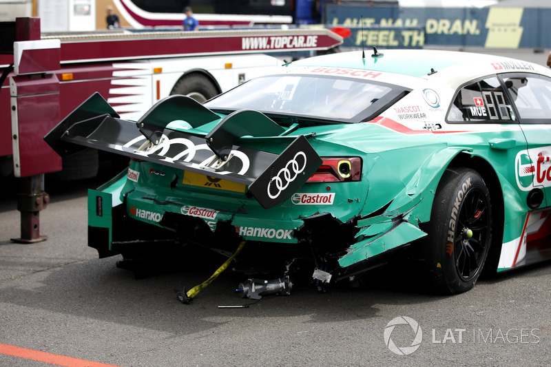 The car of Nico Müller, Audi Sport Team Abt Sportsline, Audi RS 5 DTM after the crash