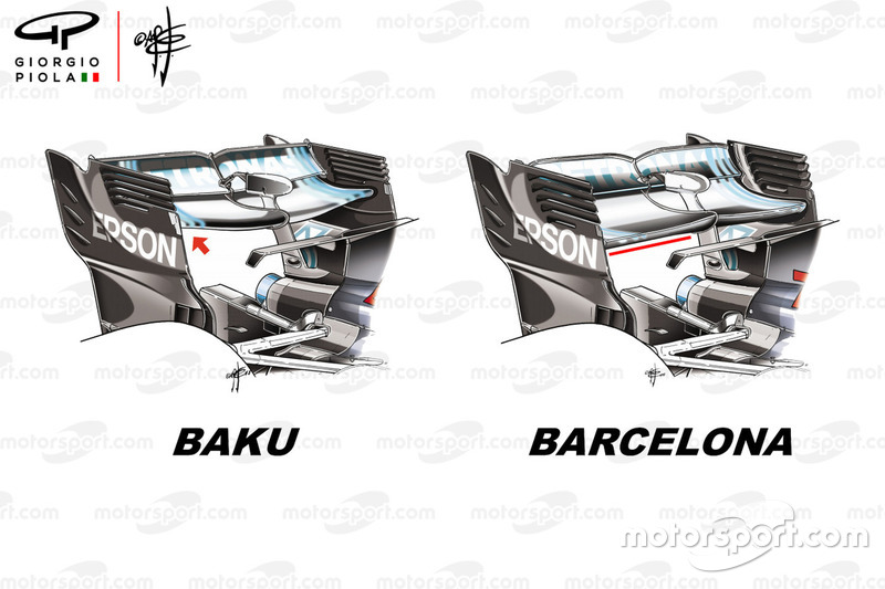 Mercedes F1 W09 rear wing Azerbaijan GP and Spanish GP