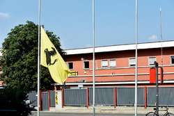 Flag flying at half mast at the Ferrari Headquarters