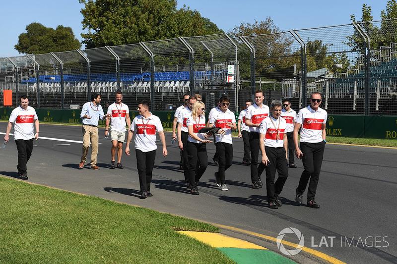 Charles Leclerc, Alfa Romeo Sauber F1 Team walks the track with the team