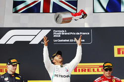 Winner Lewis Hamilton, Mercedes AMG F1, second place Max Verstappen, Red Bull Racing, third place Kimi Raikkonen, Ferrari, on the podium