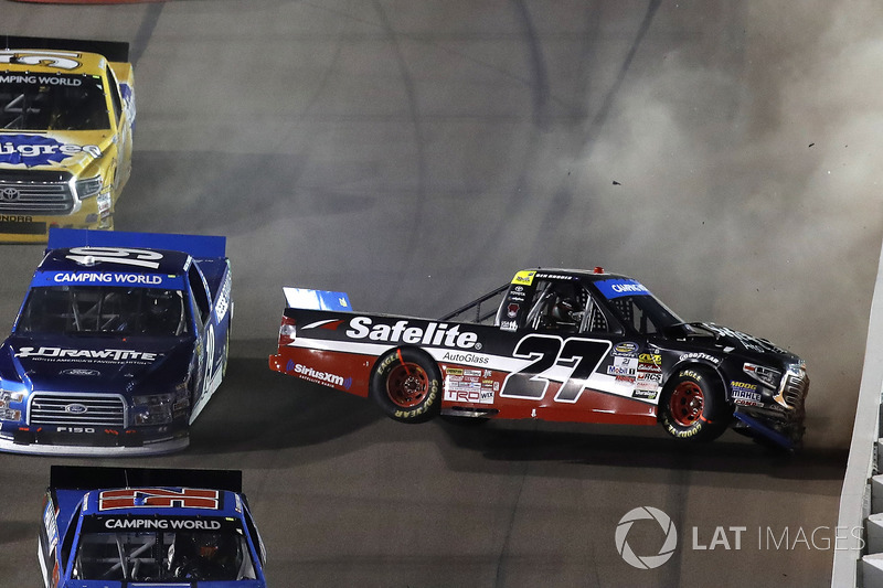 4. Ben Rhodes, ThorSport Racing Toyota, Austin Cindric, Brad Keselowski Racing Ford, crash
