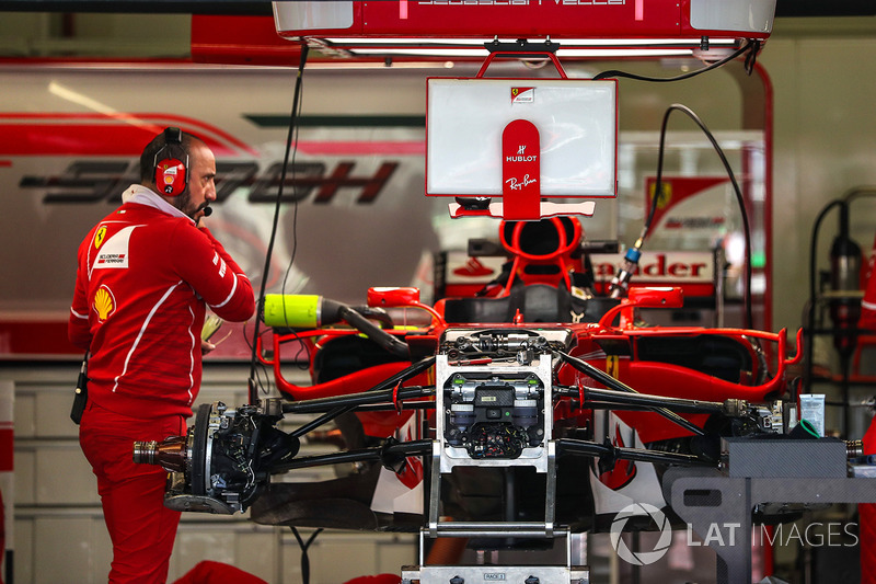 Ferrari SF70H chassis detail in the garage