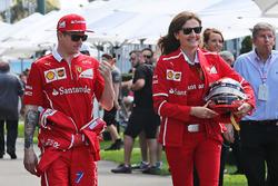 Kimi Raikkonen, Ferrari with Stefania Bocchi, Ferrari Press Officer