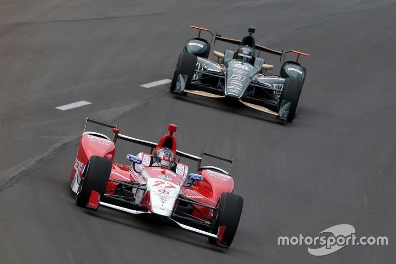 Marco Andretti, Andretti Autosport Honda, J.R. Hildebrand, Ed Carpenter Racing Chevrolet