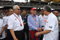 Niki Lauda, Mercedes AMG F1 Non-Executive Chairman, Tan Sri Azman, Chairman of Sepang International Circuit and Najib Razak, Malaysian Prime Minister