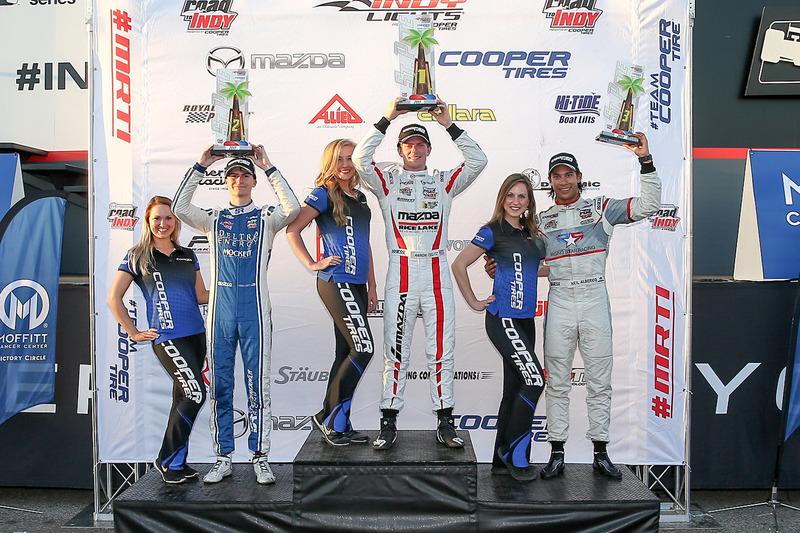 Podium: ganador, Aaron Telitz, Belardi Auto Racing, segundo, Colton Herta, Andretti Steinbrenner Racing, tercero, Neil Alberico, Carlin