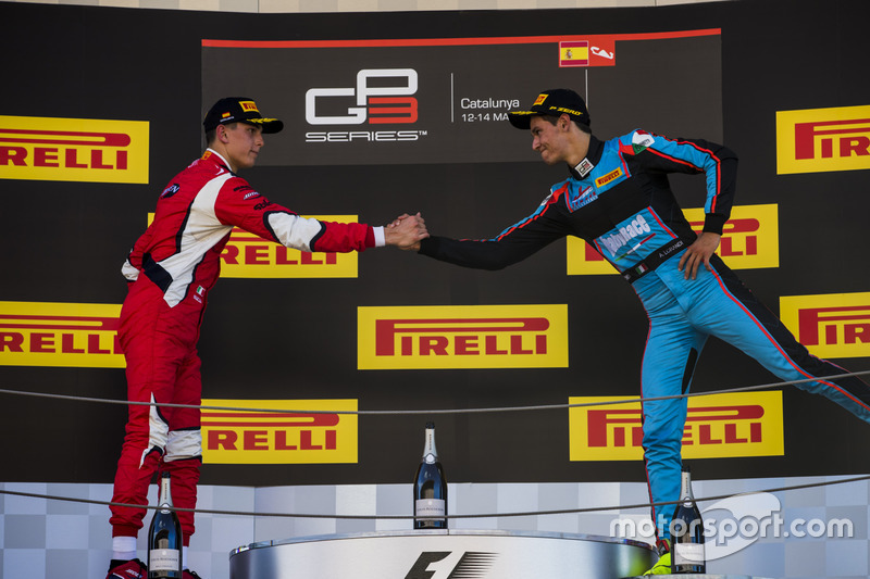 Podium: second place Leonardo Pulcini, Arden International, third place Alessio Lorandi, Jenzer Motorsport