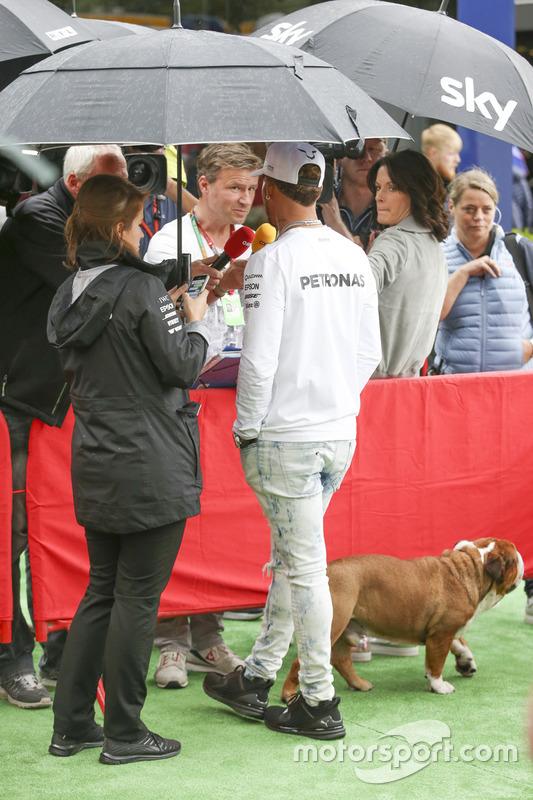 Гонщик Mercedes AMG F1 Льюис Хэмилтон и его пёс в медиазоне