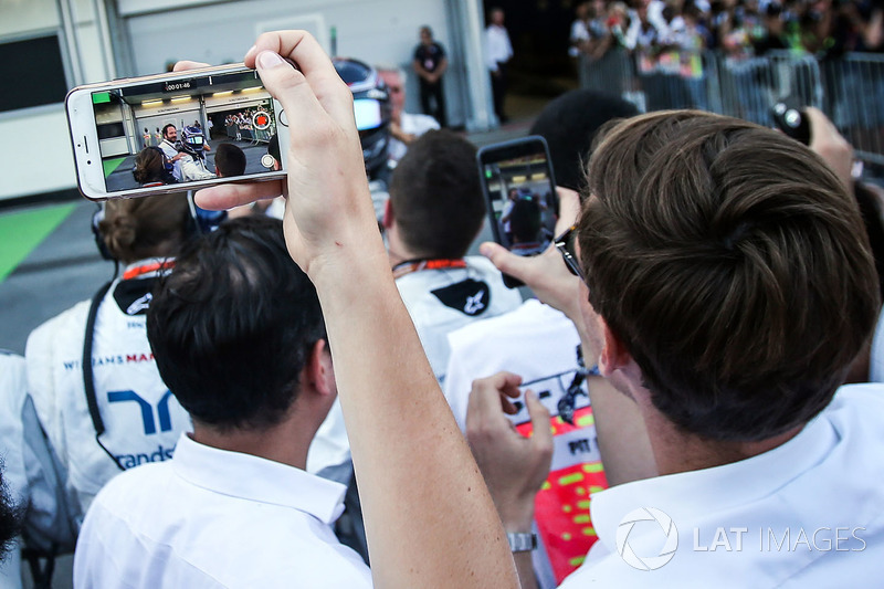 Lance Stroll, Williams celebra en parc ferme