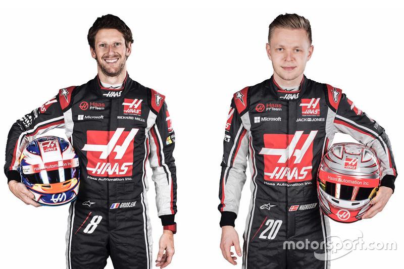 Romain Grosjean y Kevin Magnussen, pilotos del Haas F1 Team