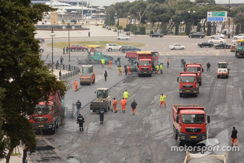 Neuer Asphalt für den Baku-Straßenkurs