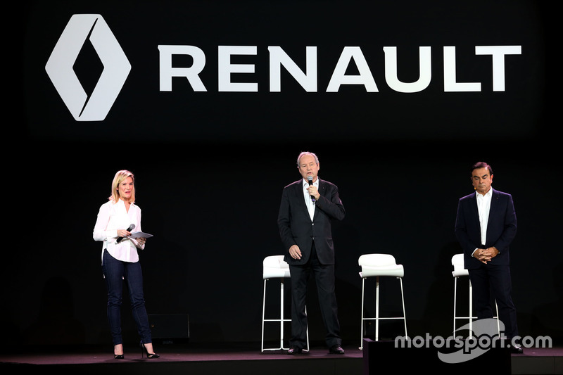 (L to R): Jerome Stoll, Renault Sport F1 President with Carlos Ghosn, Chairman of Renault