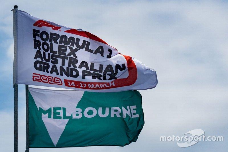 Fórmula 1, Gran Premio de Australia y banderas de Melbourne