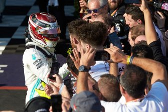 Lewis Hamilton, Mercedes AMG F1, 2nd position, celebrates with his team in Parc Ferme
