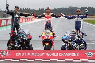 2018 World Champions: Francesco Bagnaia, Sky Racing Team VR46, Marc Marquez, Repsol Honda Team, Jorge Martin, Del Conca Gresini Racing