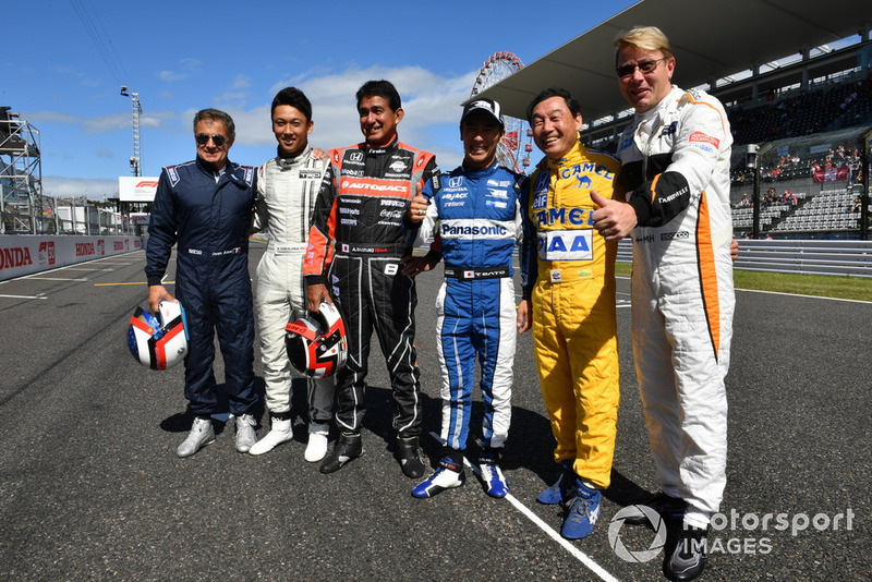 Jean Alesi, Kazuki Nakajima, Aguri Suzuki, Takuma Sato, Satoru Nakajima y Mika Hakkinen Leyendas F1 30 aniversario