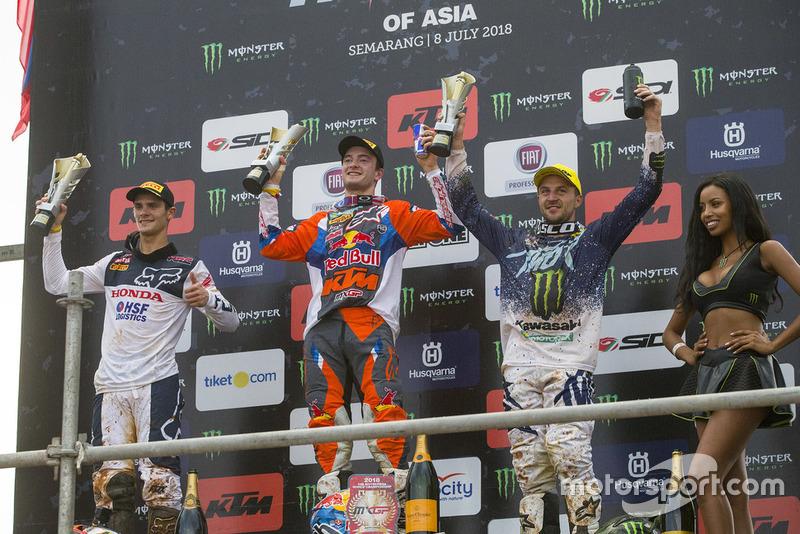 Podium Race 2: Tim Gajser Team HRC, Jeffrey Herlings KTM Factory Racing and Clement Desalle, Kawasaki