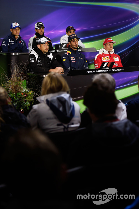 The FIA Press Conference (from back row (L to R)): Marcus Ericsson, Sauber F1 Team; Sergio Perez, Sahara Force India F1; Felipe Massa, Williams; Jenson Button, McLaren; Daniel Ricciardo, Red Bull Racing; Kimi Raikkonen, Ferrari
