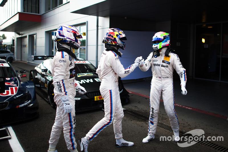 Parc Ferme: Sieger Marco Wittmann, BMW Team RMG, BMW M4 DTM; 2. Tom Blomqvist, BMW Team RBM, BMW M4 DTM; 3. Bruno Spengler, BMW Team MTEK, BMW M4 DTM
