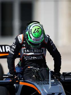 Nico Hulkenberg, Sahara Force India F1 VJM09 en parc ferme