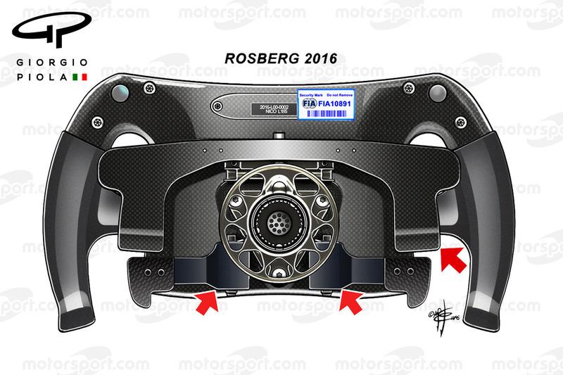 Mercedes-Lenkrad von Nico Rosberg 2016, Rückansicht