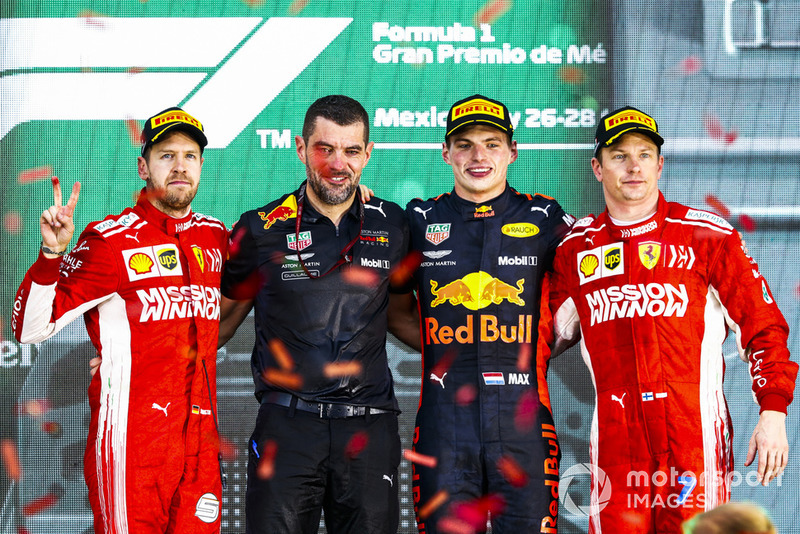 19. GP Meksiko - Podium: Max Verstappen, Sebastian Vettel, Kimi Raikkonen