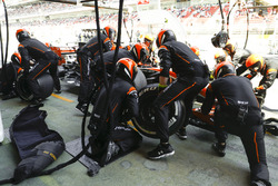 Fernando Alonso, McLaren MCL32, pit stop action during the race