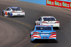 Aric Almirola, Richard Petty Motorsports Ford; Trevor Bayne, Roush Fenway Racing Ford and David Ragan, Front Row Motorsports Ford