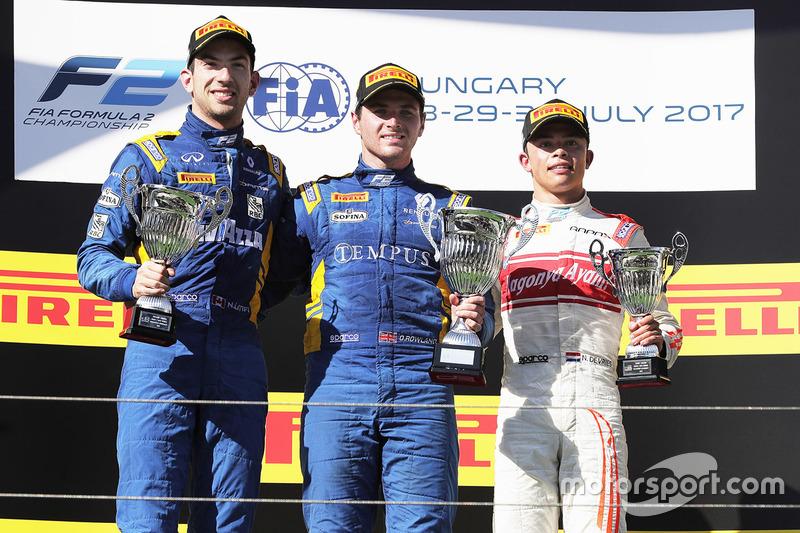 Podium : le vainqueur Oliver Rowland, DAMS, le deuxième Nicholas Latifi, DAMS, le troisième Nyck De Vries, Rapax
