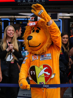 Max Verstappen, Red Bull Racing fan in Lion costume