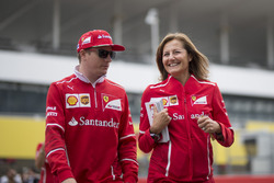 Kimi Raikkonen, Ferrari and Stefania Bocchi, Ferrari Press Officer
