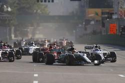 Lewis Hamilton, Mercedes AMG F1 W08, Felipe Massa, Williams FW40, passes Sebastian Vettel, Ferrari SF70H, ahead of Sebastian Vettel, Ferrari SF70H, Esteban Ocon, Sahara Force India F1 VJM10 and Kimi Raikkonen, Ferrari SF70H