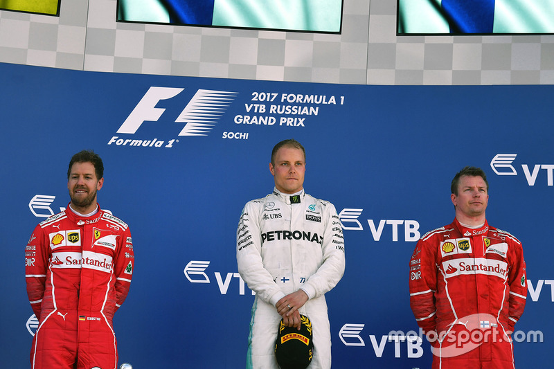 Podium: race winner Valtteri Bottas, Mercedes AMG F1, second place Sebastian Vettel, Ferrari, third place kimi Raikkonen, Ferrari