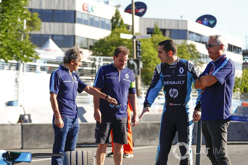 Alain Prost, Sébastien Buemi, Renault e.Dams, y Jean Paul Driot