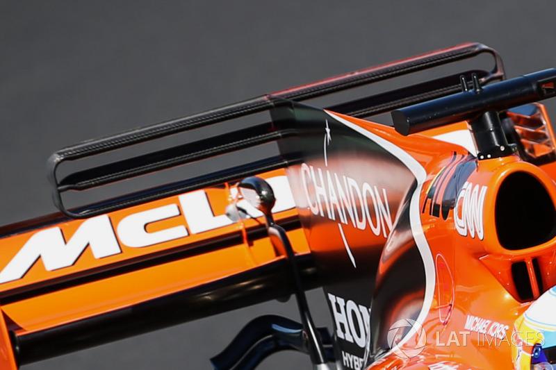 McLaren MCL32, detalle del alerón trasero