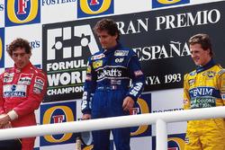 Podio: il vincitore della gara Alain Prost, Williams, Ayrton Senna, McLaren, Michael Schumacher, Benetton