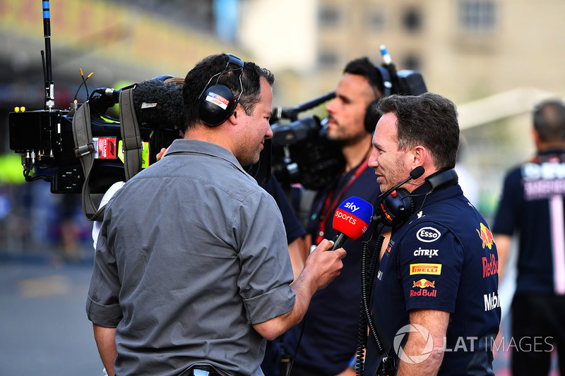 Ted Kravitz, Sky TV y Christian Horner, director del equipo Red Bull Racing