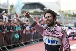 Third place Sergio Perez, Force India celebra en parc ferme