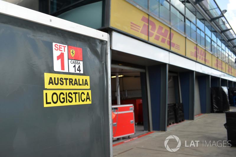Ferrari freight in pit lane