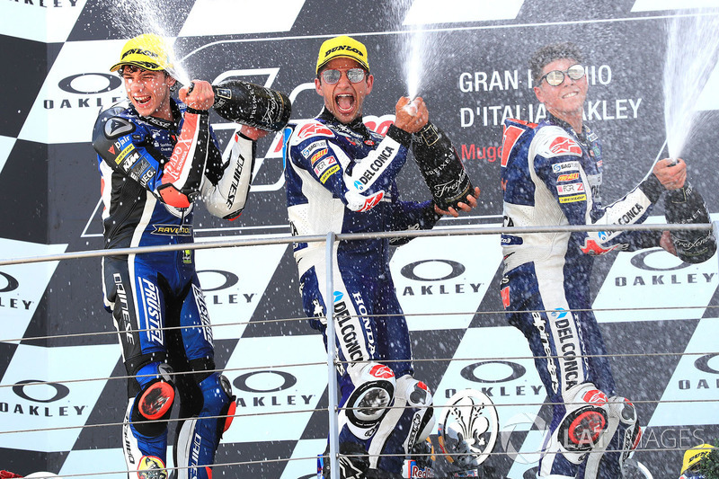 Podio: ganador de la carrera Jorge Martin, Del Conca Gresini Racing Moto3, segundo lugar Marco Bezzecchi, Prustel GP, tercer puesto Fabio Di Giannantonio, Del Conca Gresini Racing Moto3