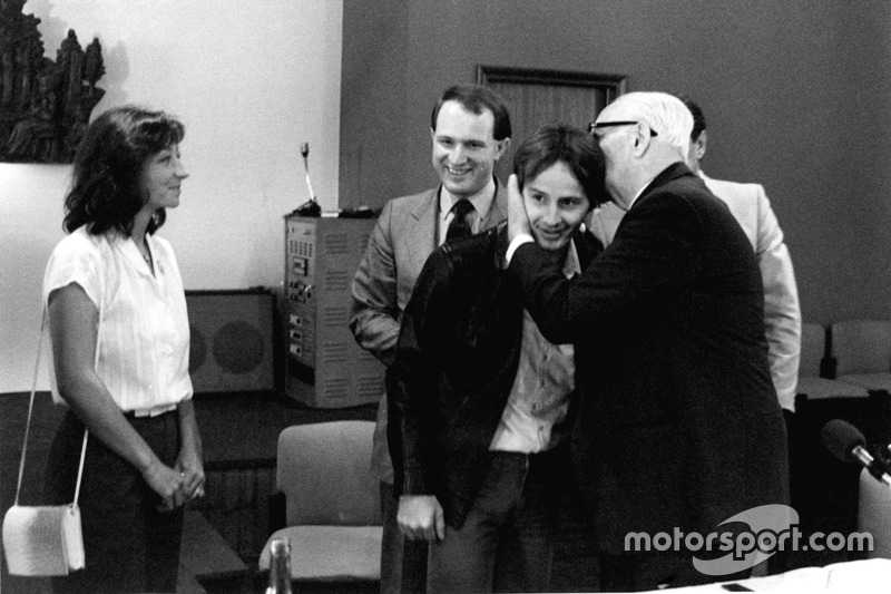 Joan Villeneuve, Enzo Ferrari with Gilles Villeneuve at Modena