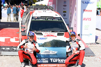 Racewinnaar Ott Tänak, Martin Järveoja, Toyota Gazoo Racing