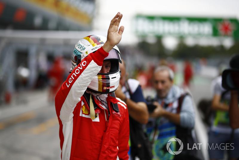 Sebastian Vettel, Ferrari waves to the fans after FP2