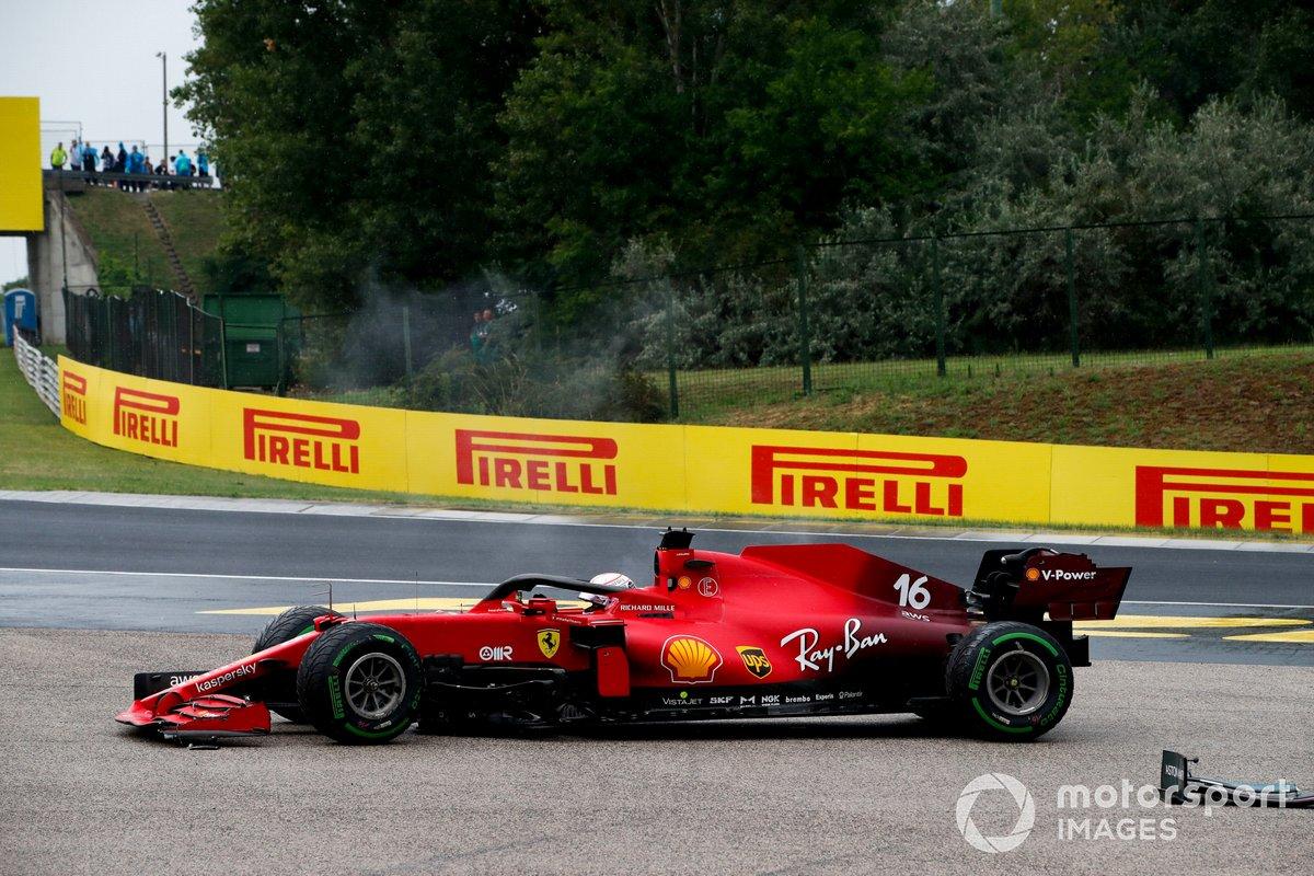 Charles Leclerc, Ferrari SF21, comes to a halt with damage