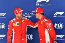 Sebastian Vettel, Ferrari e Kimi Raikkonen, Ferrari, festeggiano nel parco chiuso